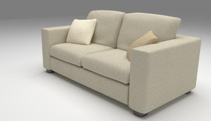 3d model of a burlap sofa
