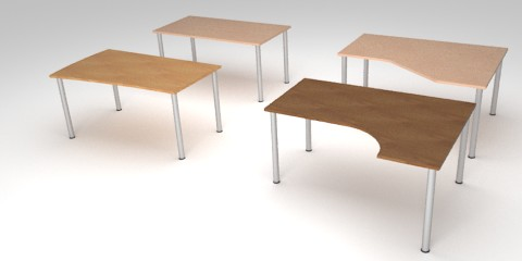 Free 3D models of 4 wooden tables for offices