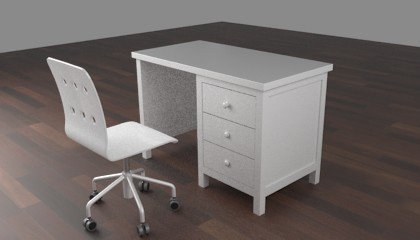 Blender render of an scene with a chair and desk table